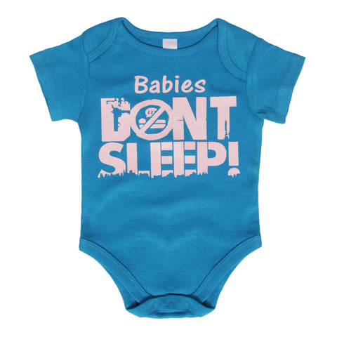 Babies Don't Sleep Blue Onesie