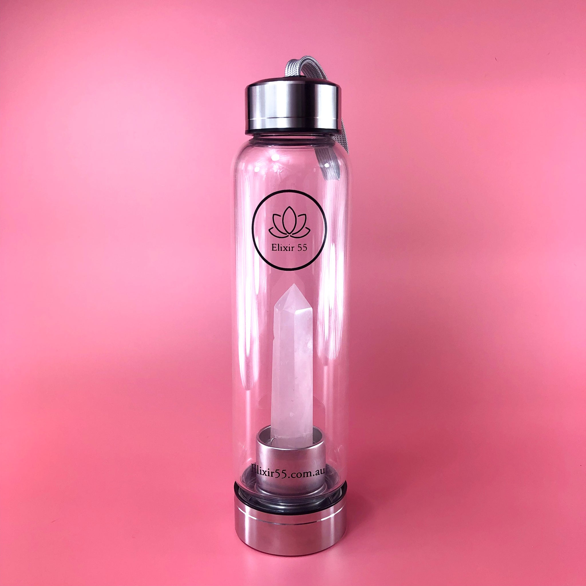 Rose Quartz Crystal Water Bottle - Elixir 55