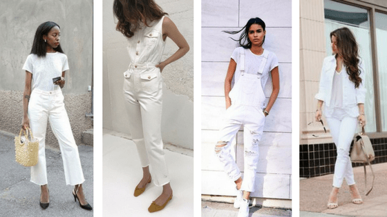 Monochromatic White Denim trend