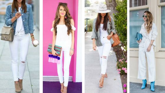 White Denim with a Pop of Color