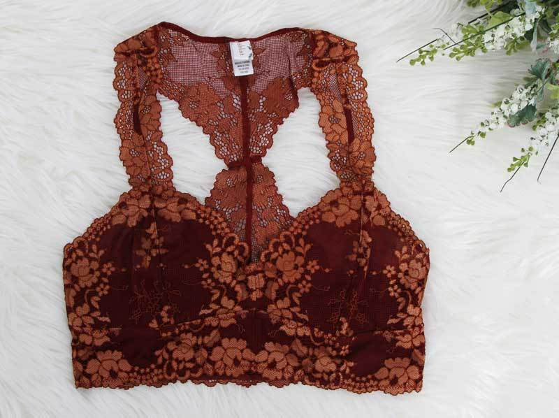 Rust Two Tone Lace Racerback Bralette