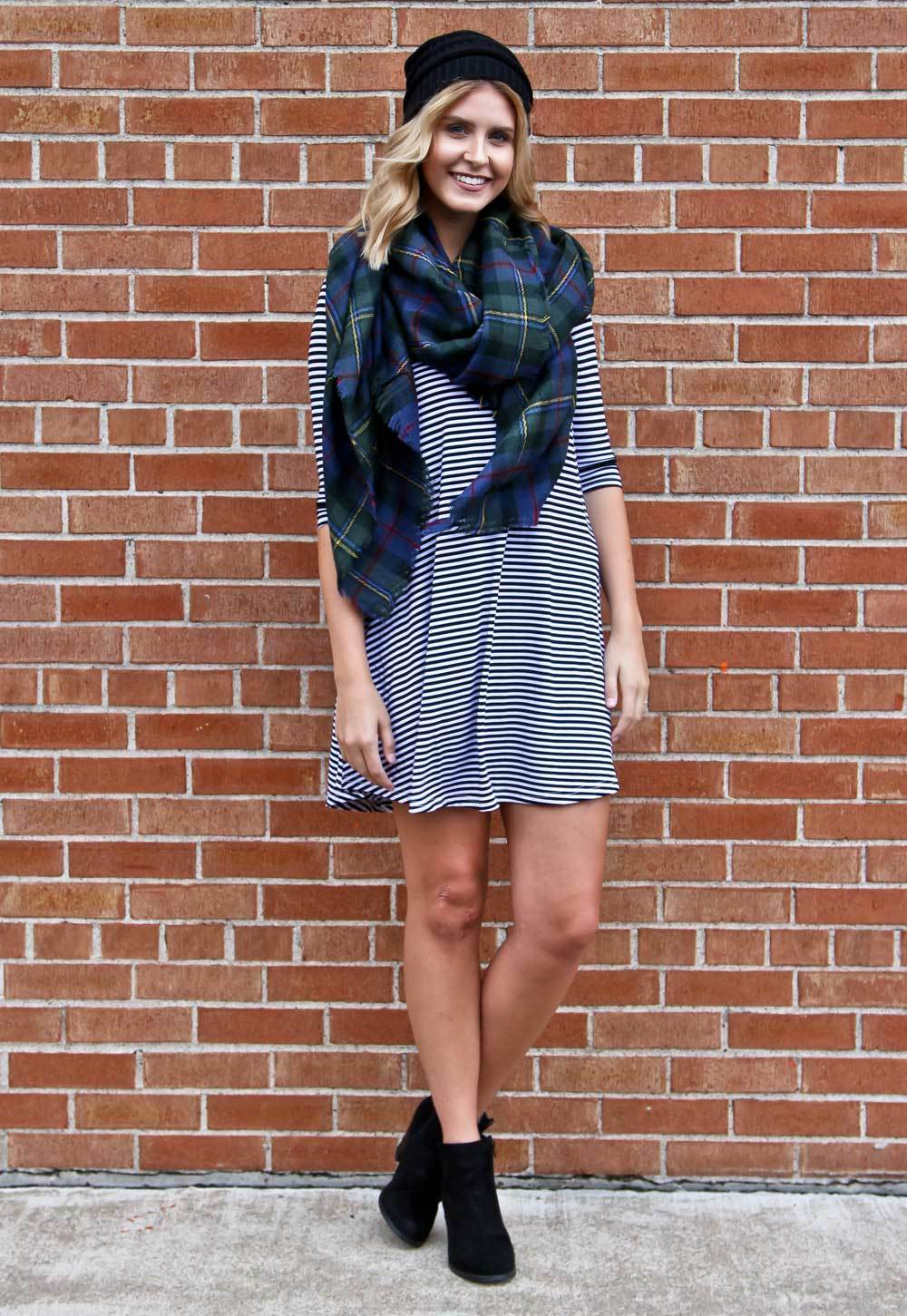 Piko Dresses with Blanket Scarf