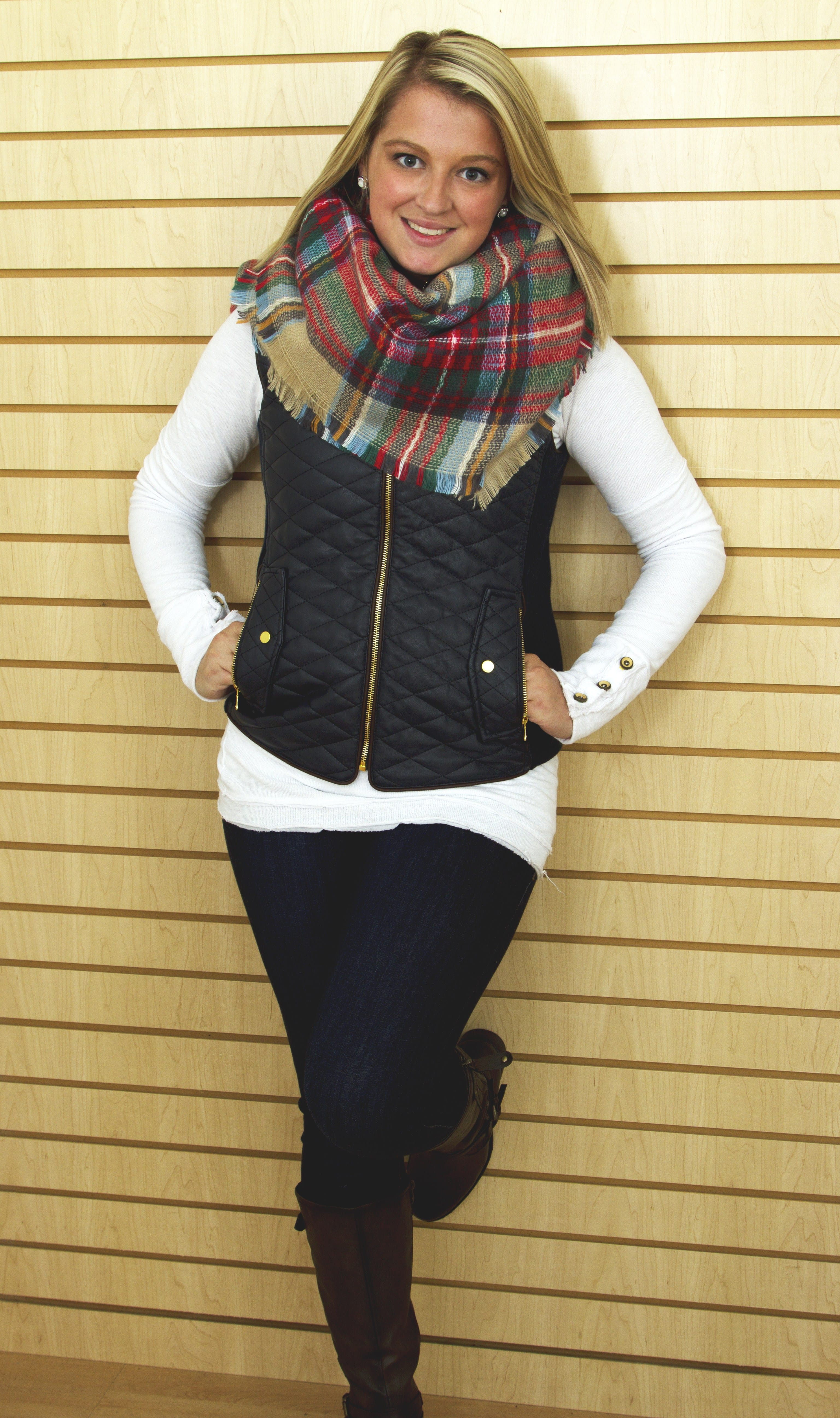 Plaid Blanket Scarf and Vest