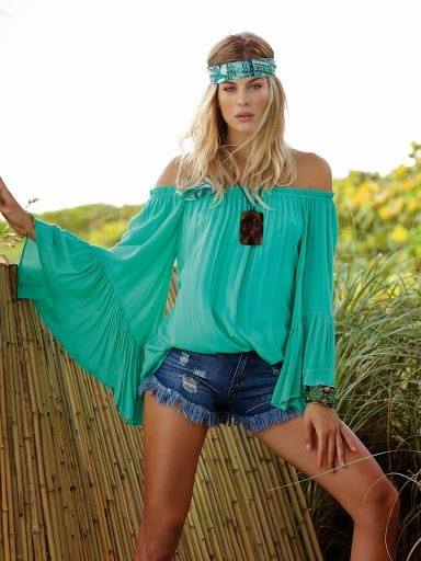 Elan blouse with bell sleeve
