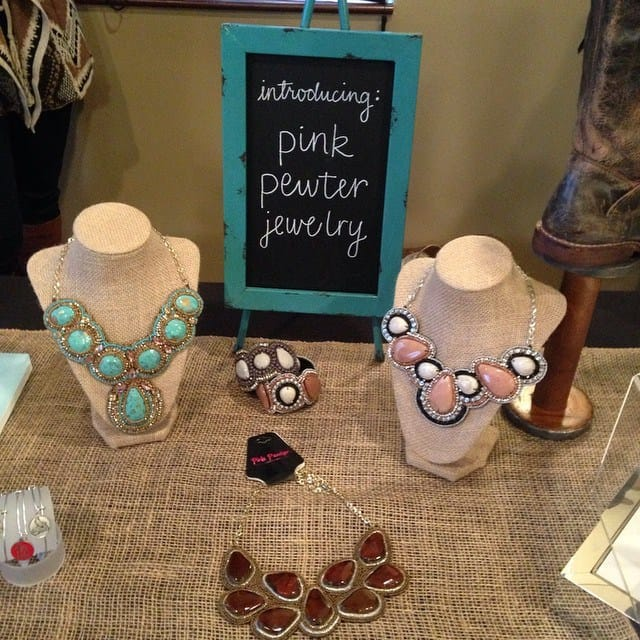gliks presents pink pewter jewelry at STLFW VIP Bloggers Lounge