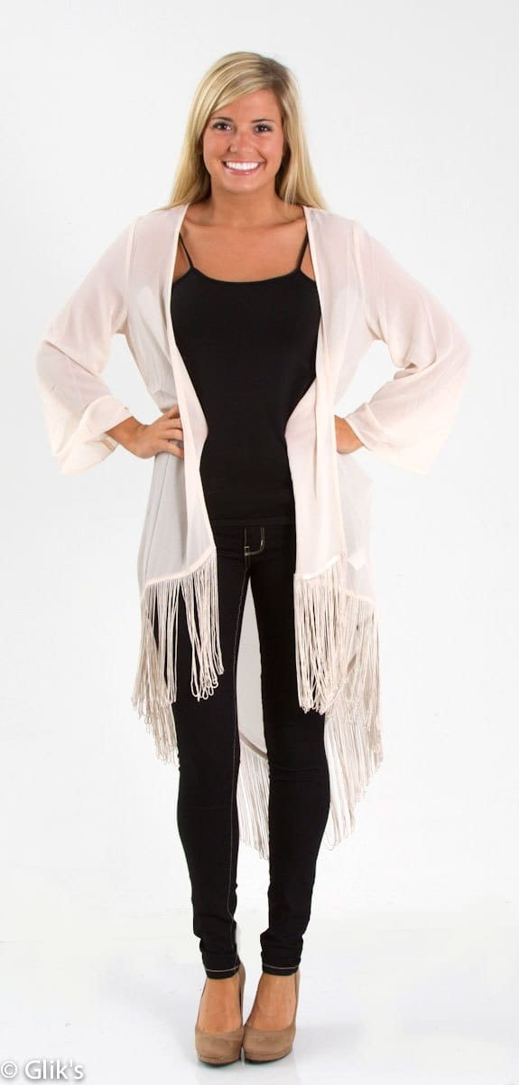 Chiffon Cardigan with Fringe
