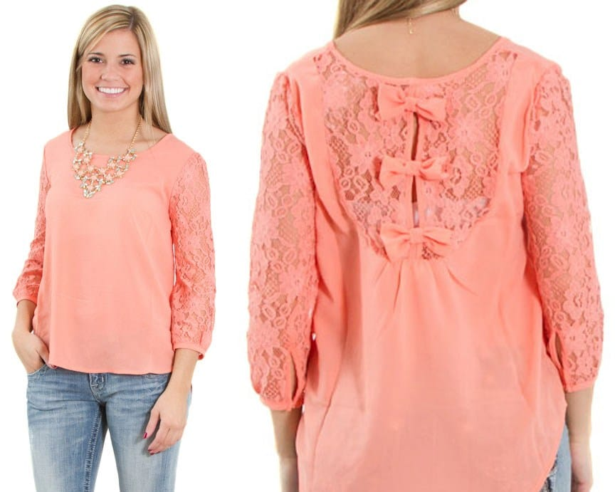 bow and lace back cute fashion top