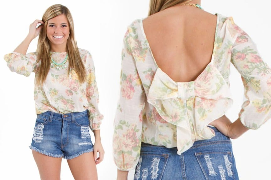 scoop bow back floral top