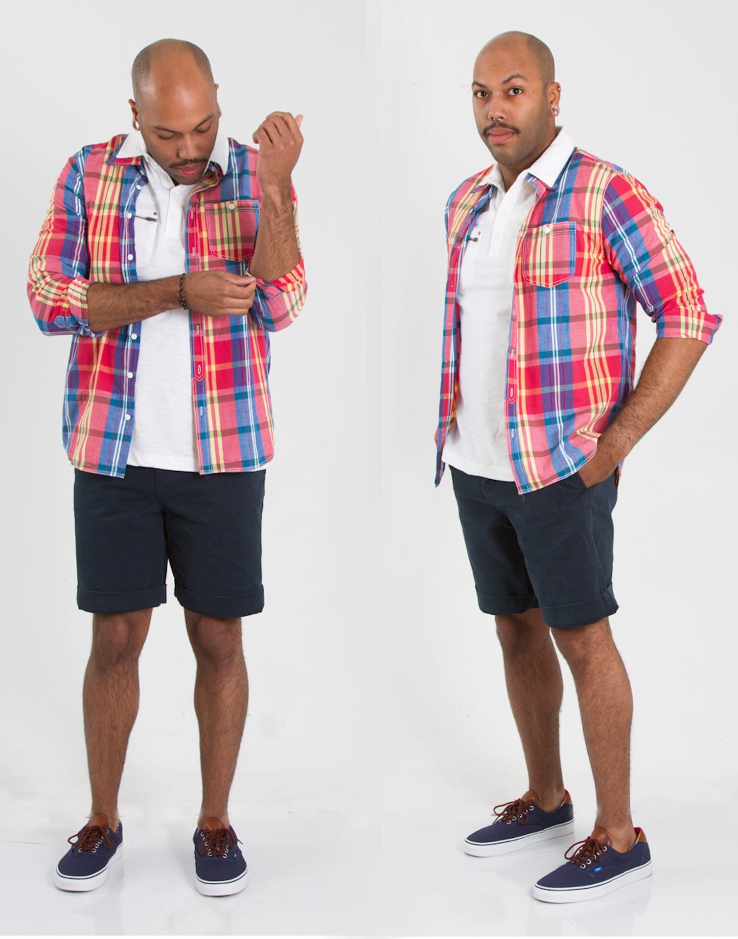 1897 Plaid button-up and flat front shorts