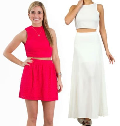 everly crop top and skirt set
