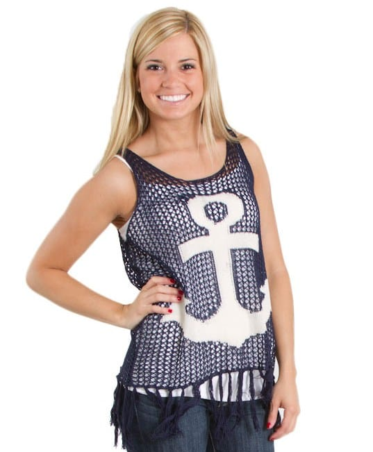 THE-CLASSIC-OPEN-WEAVE-KNIT-ANCHOR-TANK-WITH-FRINGE-NAVY-SW1073-FRONT