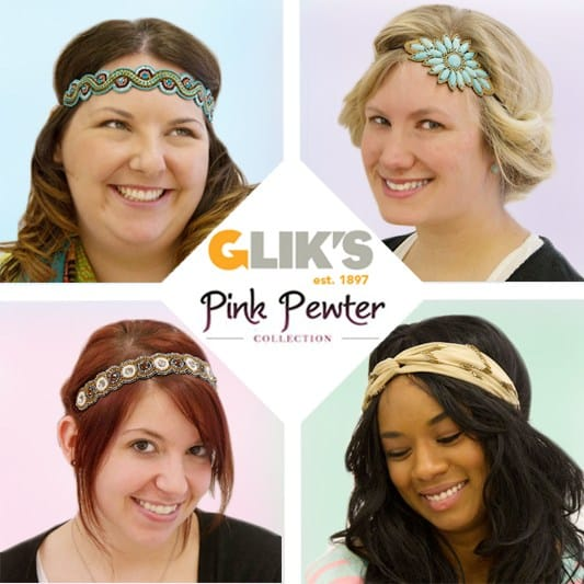 new pink pewter headbands