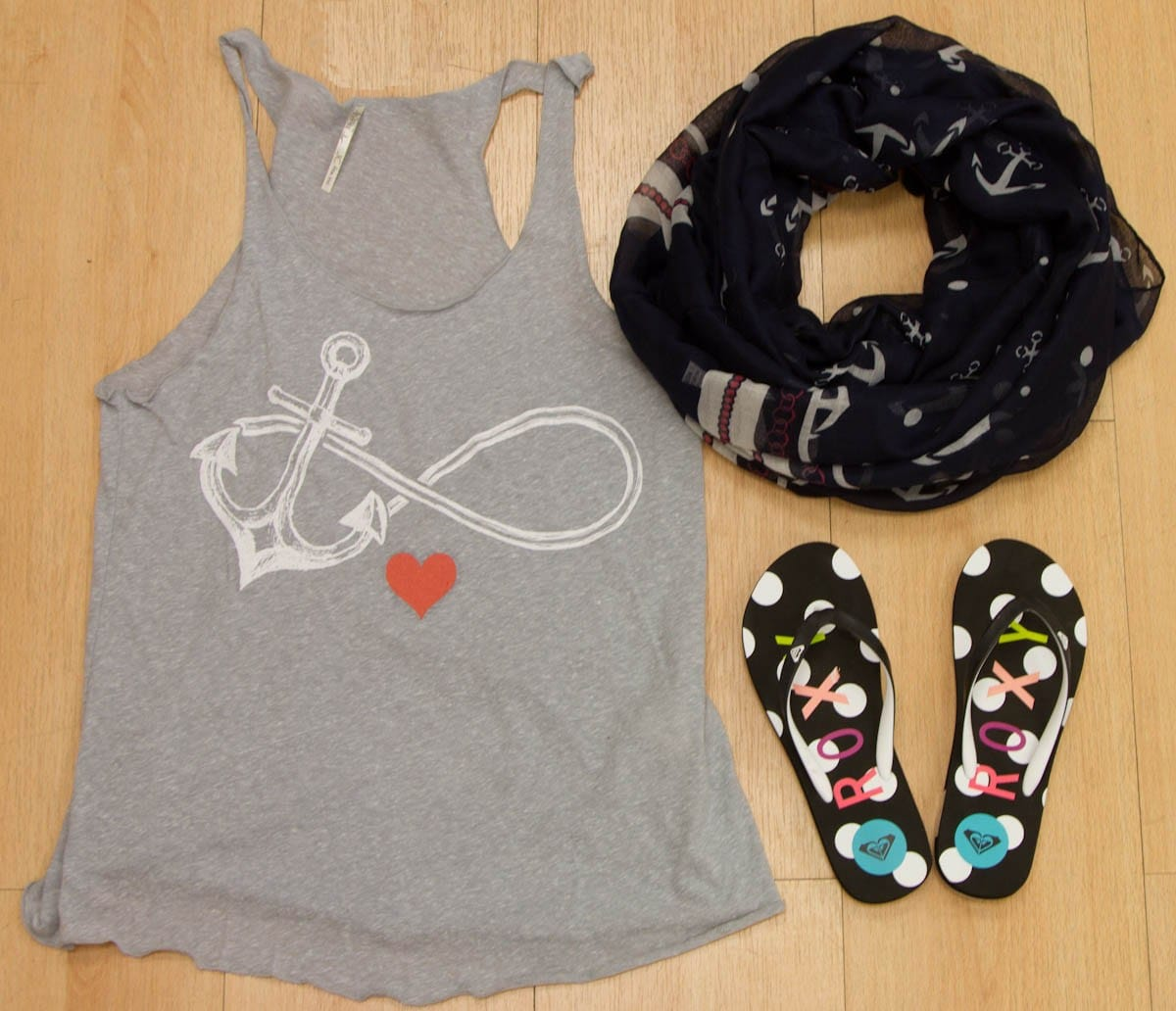 Infinity sign with anchor and infinity nautical scarf