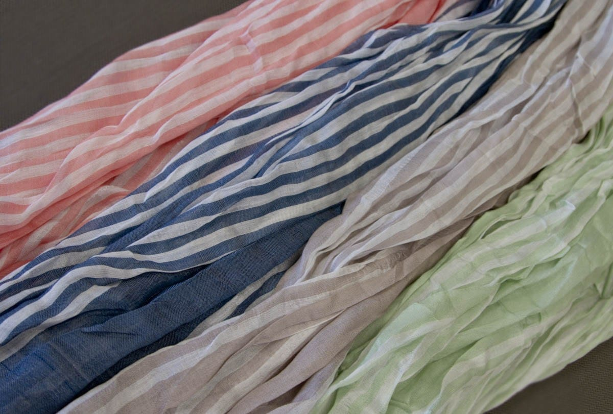 Scrunched Stripe Infinity Scarf Available in 4 amazing colors!