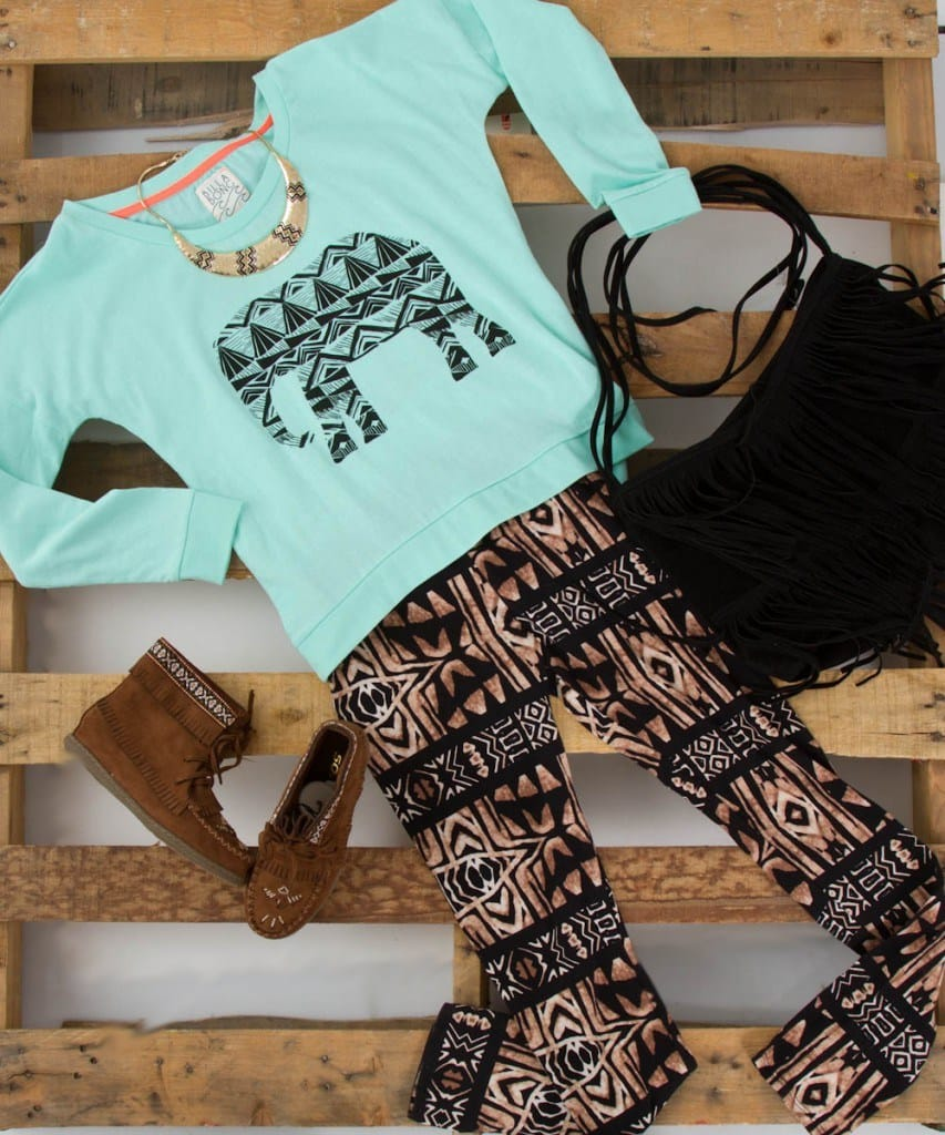 Aztec Printed Legging with Elephant Printed Top