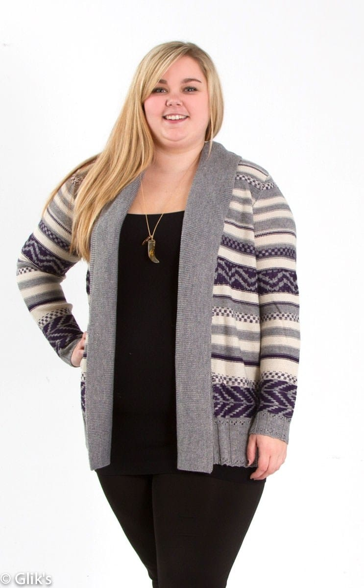Patsy Striped BB Dakota Plus Size Cardigan