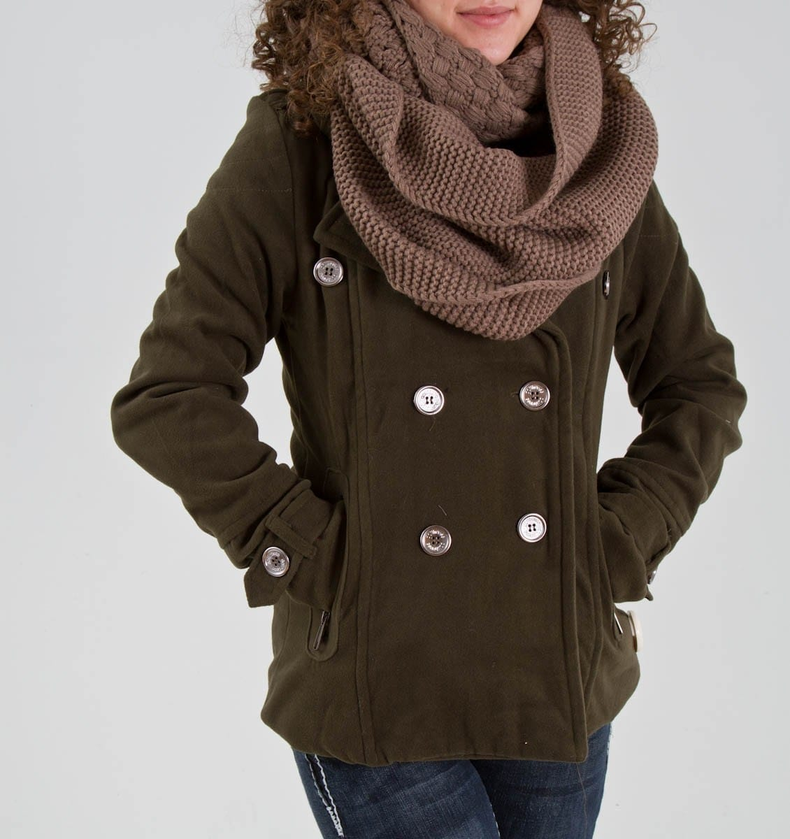 Buttoned Peacoat with Chunky Scarf