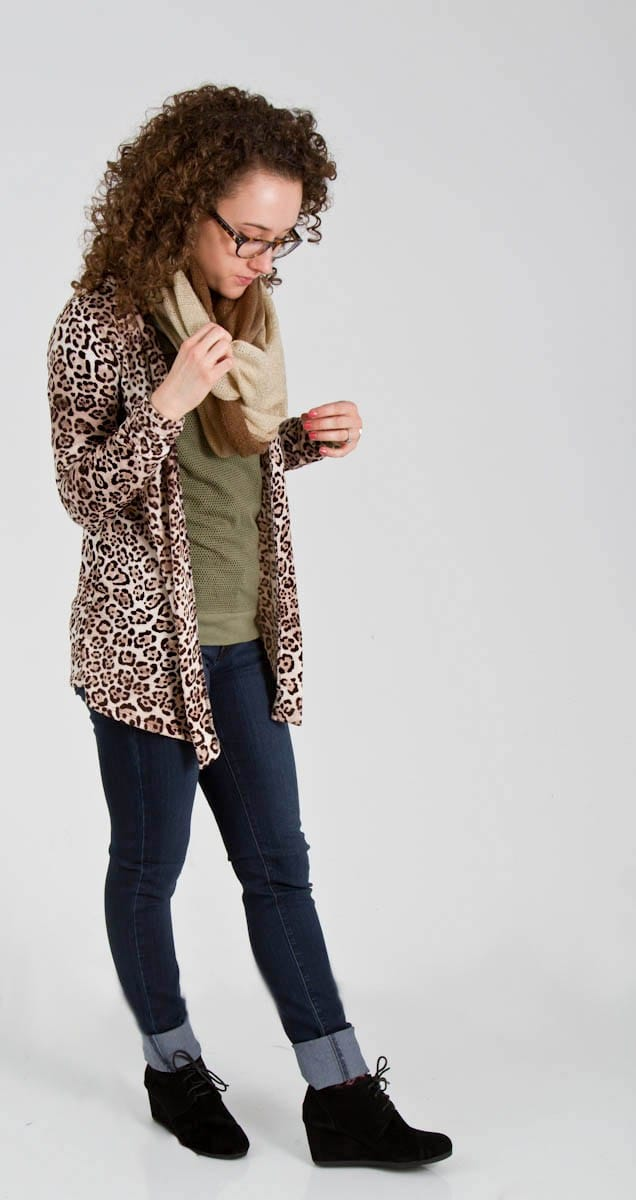 Cheetah Print Cardigan with Simple Tee Shirt, Scarf, and Jeans