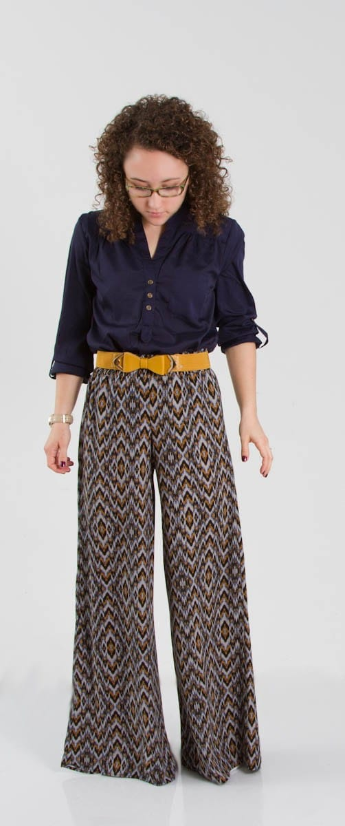 Navy Palazzo Pants Outfit