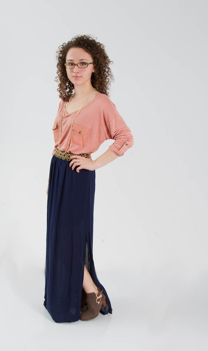Navy maxi Skirt and Pink Top