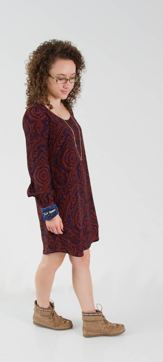 Navy and Burgandy Paisley Dress with Navy Accessories