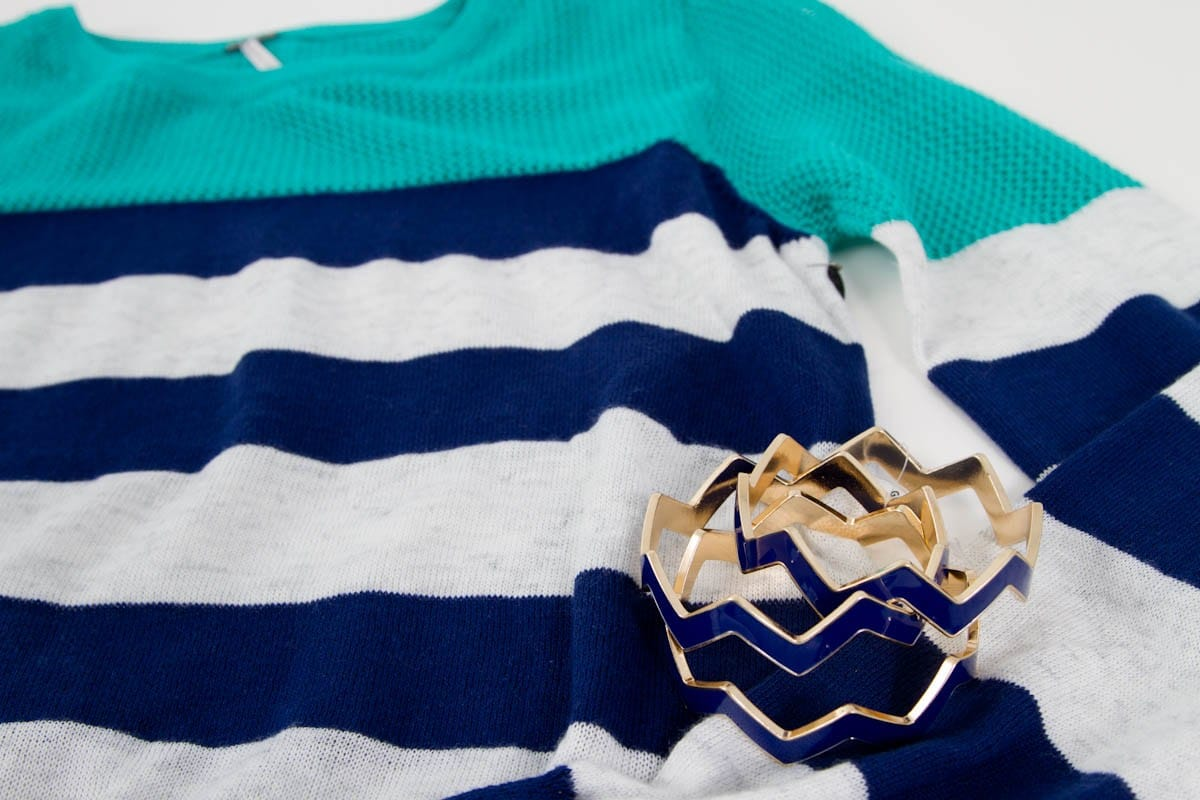 Navy Stripe Sweater and Navy Chevron Bangles
