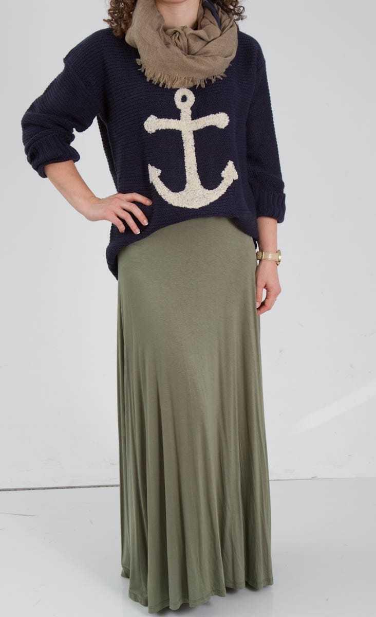 Anchor Sweater, Scarf, Olive Green Maxi Skirt