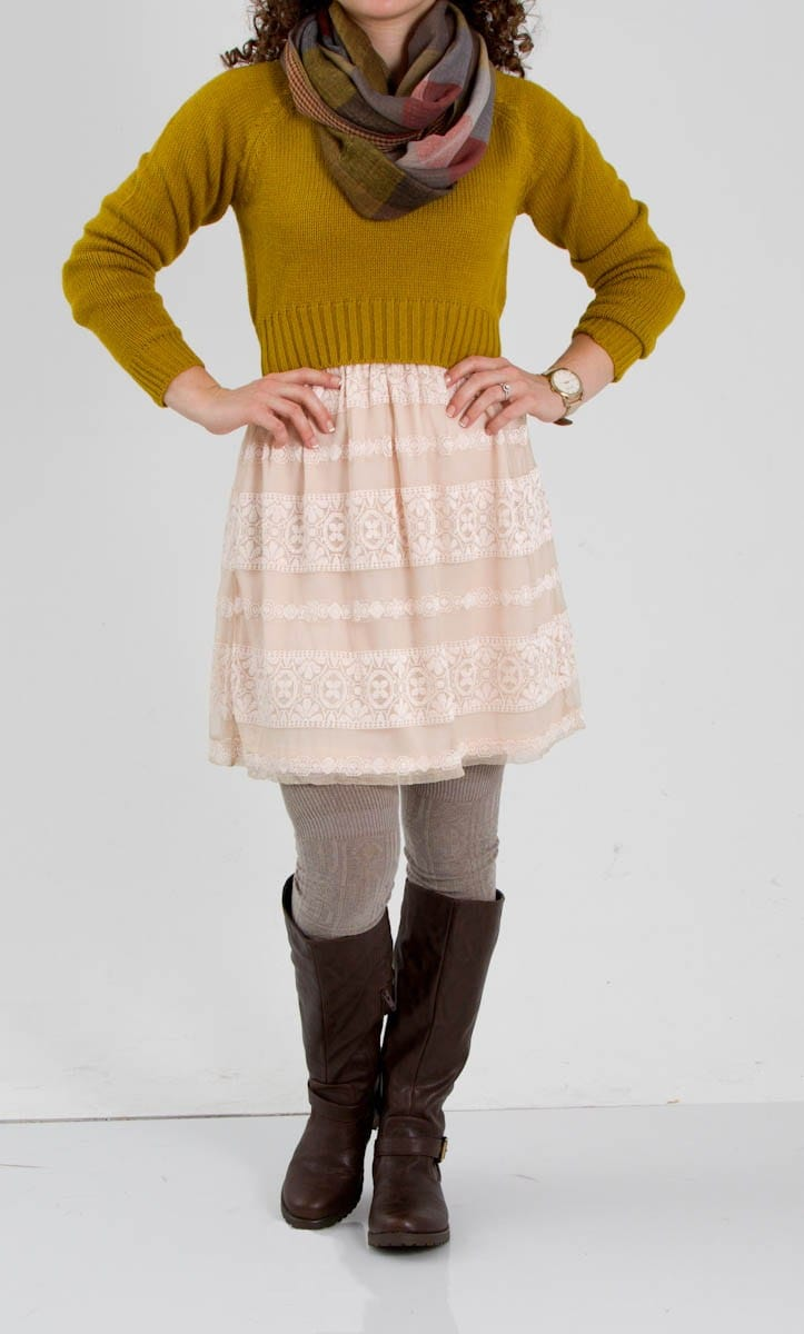 Lace Dress with Crop Sweater, Scarf, Knee Socks, and Boots