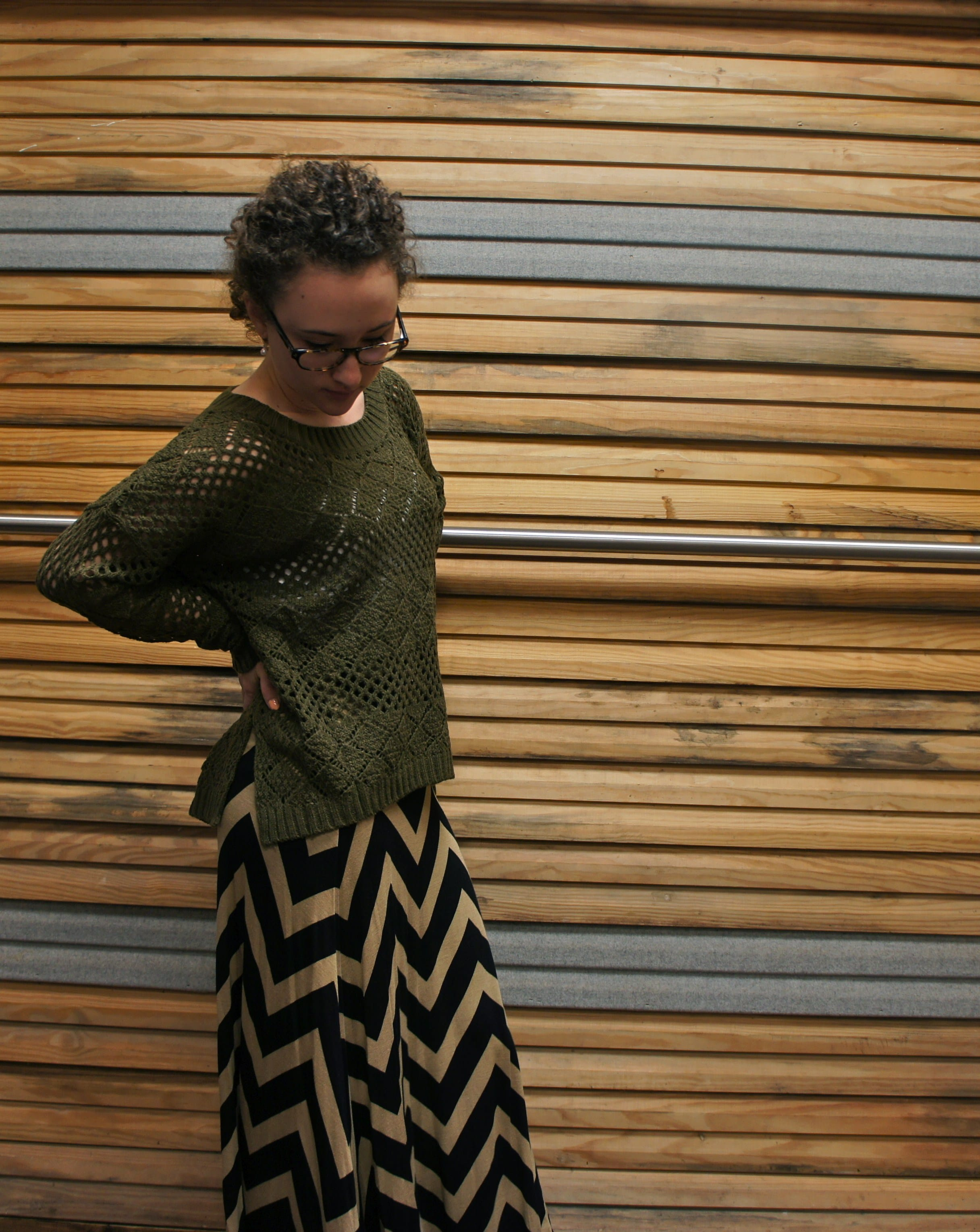 Chevron Maxi Skirt and Olive Green Sweater