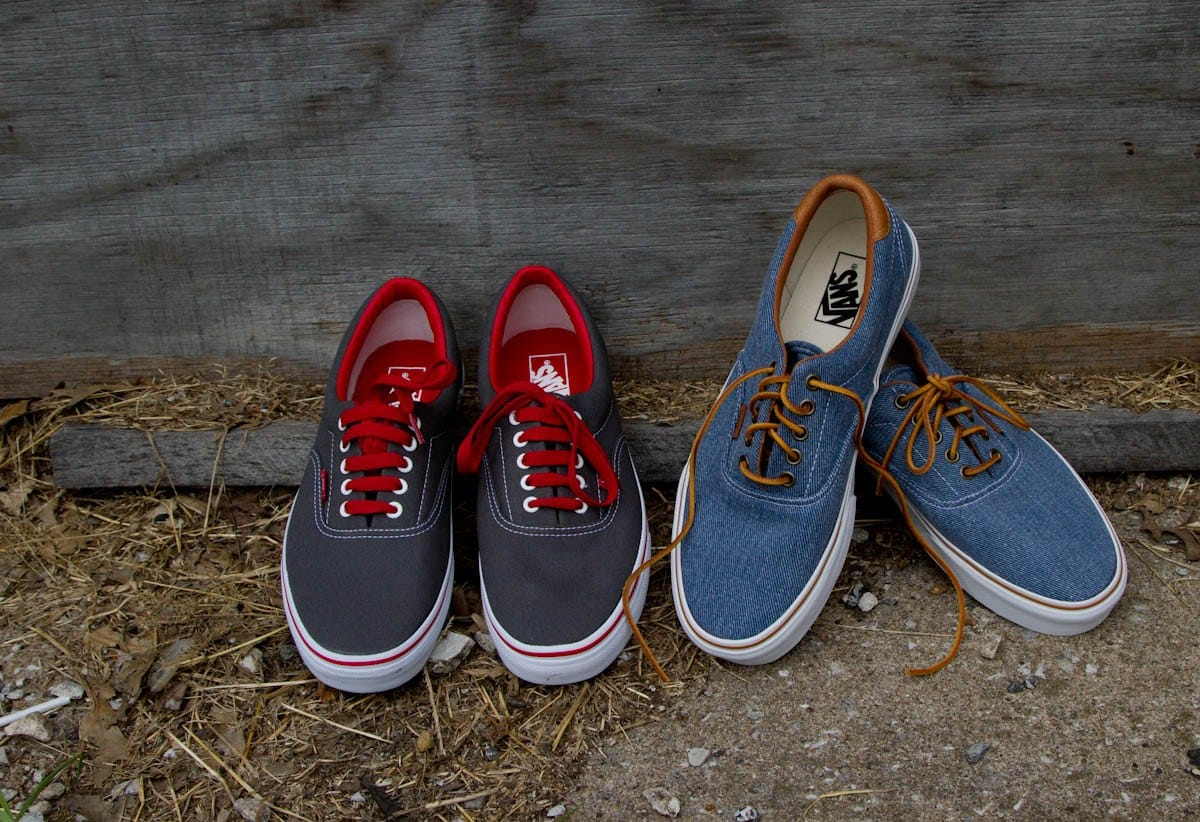 gray and red, and blue chambray vans for men