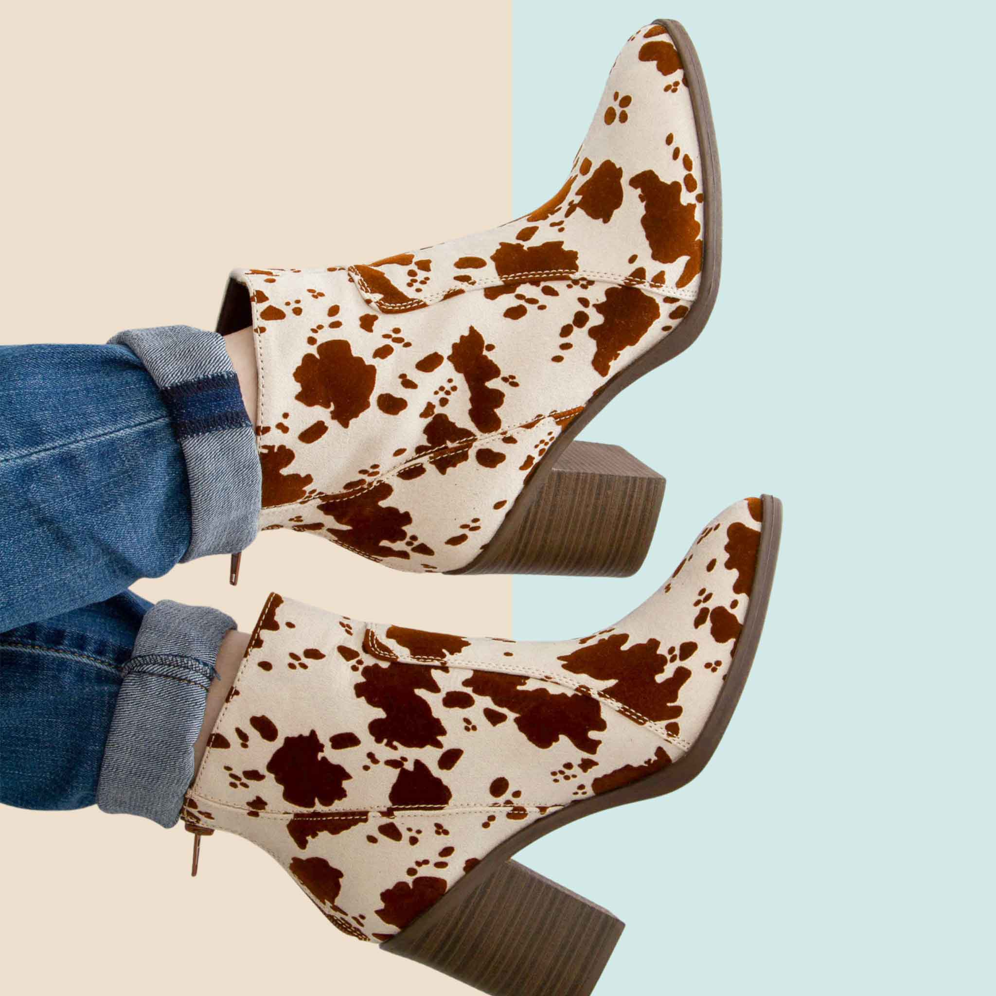 Qupid Cow Print Booties