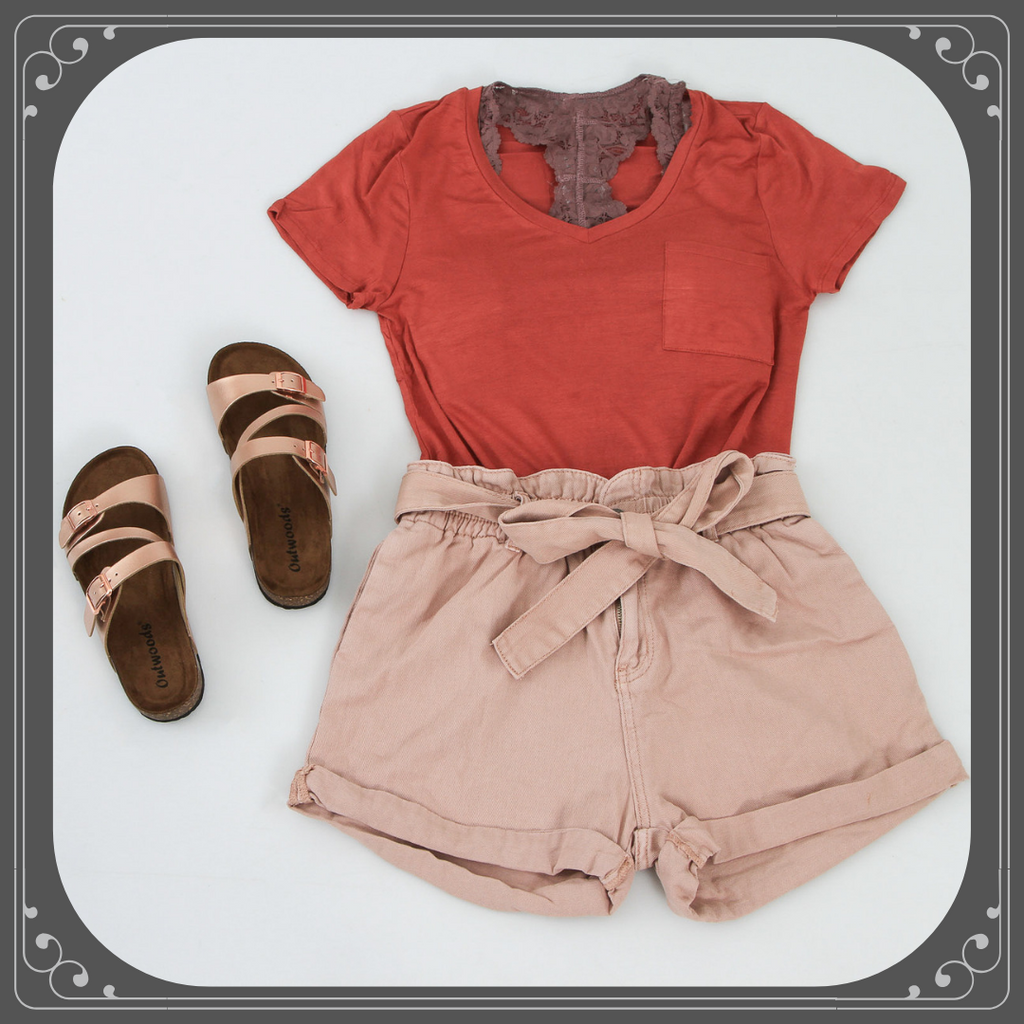 Paper Bag Shorts Outfit
