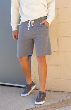 1897 Fleece Shorts for Men in Heather Grey | MP410-HGRY