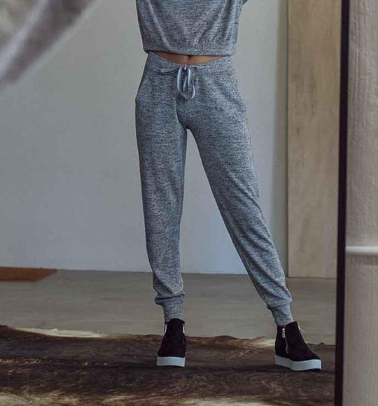 1897 Drawstring Knit Joggers for Women in Heather Grey | PA115-HGREY