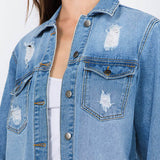 American Bazi Long Destructed Denim Jacket in Blue