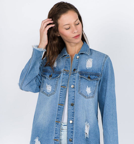 American Bazi Long Destructed Denim Shacket  in Blue