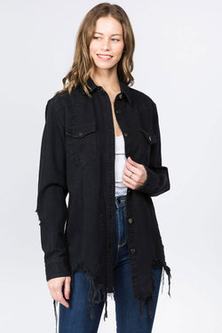 American Bazi Long Destructed Denim Jacket in Black