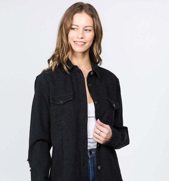 American Bazi Long Destructed Denim Shacket in Black