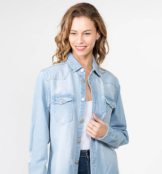 American Bazi Long Destructed Denim Jacket in Faded Light Blue