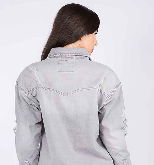 American Bazi Destructed Denim Shacket in Grey