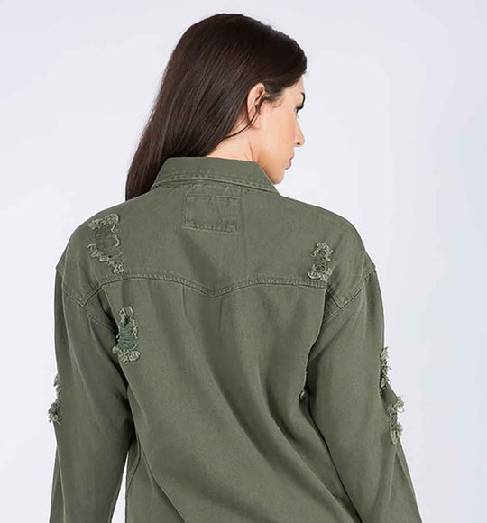 American Bazi Destructed Denim Shirt Jacket in Olive