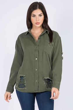 American Bazi Destructed Denim Shacket in Olive
