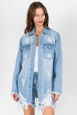 American Bazi Long Destructed Denim Jacket in Light Blue