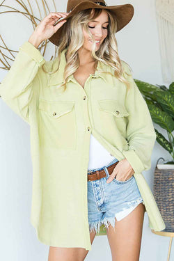 Bucket List Oversized Shacket for Women in Lime