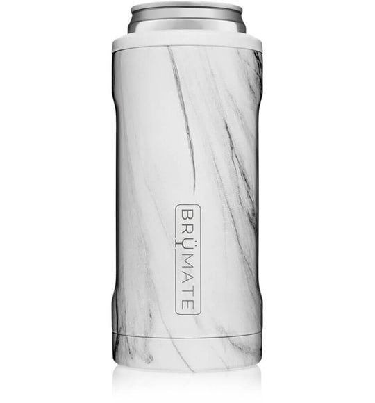 BrüMate 12 oz Hopsulator Slim Can Cooler in Carrara Marble