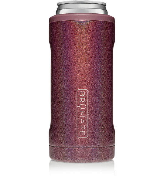 BrüMate 12 oz Hopsulator Slim Can Cooler in Glitter Merlot
