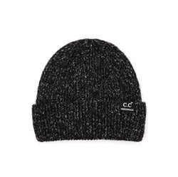 CC Beanie Ribbed Wool Blend Beanie for Women in Black