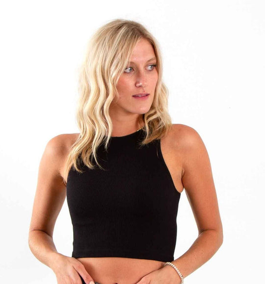 Dynamic Cropped Seamless Tank Top for Women in Black