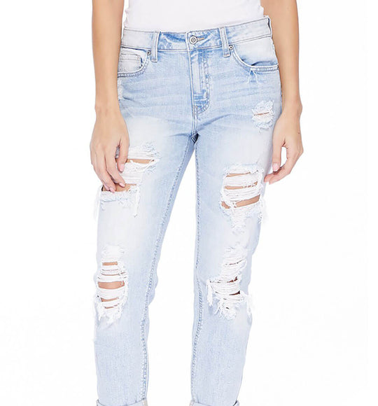Eunina Jeans Destructed Boyfriend Jeans for Women in Light Wash