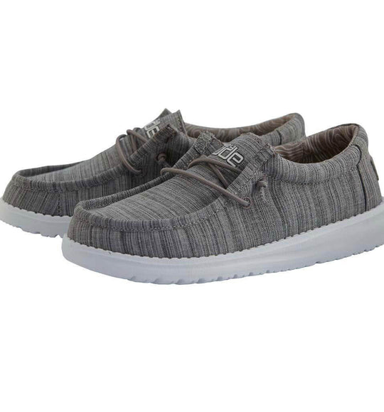 Hey Dude Shoes Boy's Wally Youth Linen Shoes in Stone